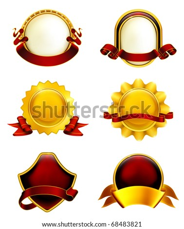 Luxury Labels with ribbons, eps10 - stock vector