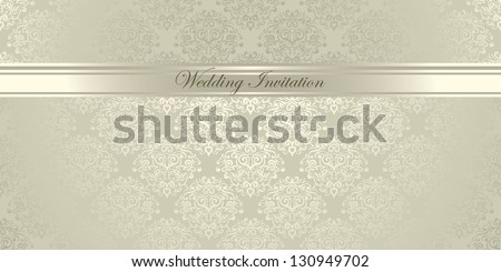 Luxury light damask floral Wedding Invitation - stock vector