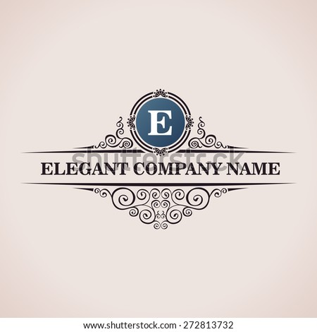 Luxury logo. Calligraphic pattern elegant decor elements. Vintage vector ornament E - stock vector