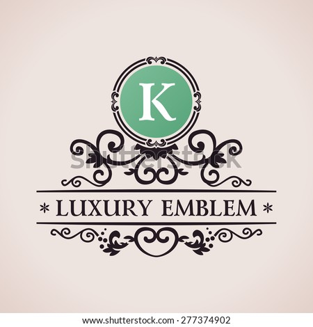 Luxury logo. Calligraphic pattern elegant decor elements. Vintage vector ornament K - stock vector