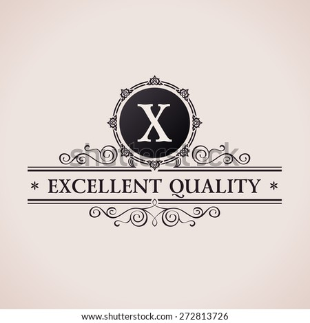 Luxury logo. Calligraphic pattern elegant decor elements. Vintage vector ornament X - stock vector