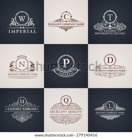 Luxury logo set. Calligraphic pattern elegant decor elements. Vintage vector ornament Signs and Symbols. The Letters W, C, T, N, P, D, U, Q, L - stock vector