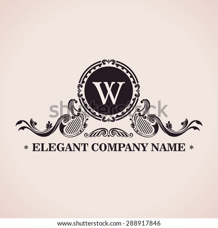 Luxury logo set. Calligraphic pattern elegant decor elements. Vintage vector ornament W - stock vector