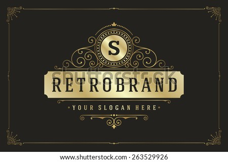 Luxury Logo template flourishes calligraphic elegant ornament lines. Business sign, monogram identity for Restaurant, Boutique, Cafe, Hotel, Heraldic, Jewelry, Fashion and other vector illustration