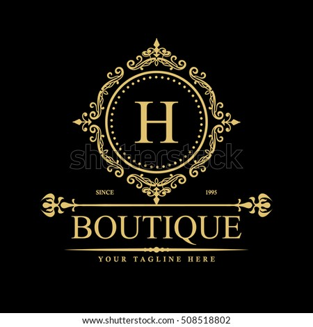 Vector calligraphic logo template luxury retro stock for Luxury hotel logo