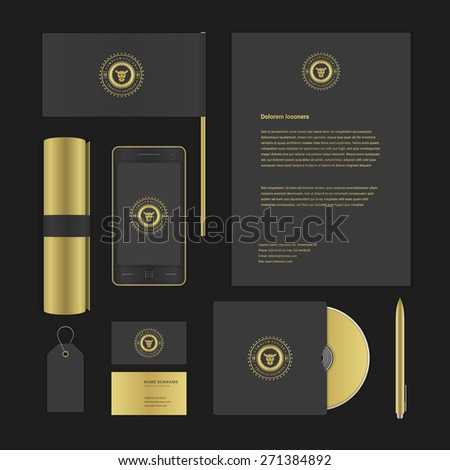 Luxury Logotype presentation corporate identity template Mock up design elements. Vector Business stationery objects, document, business card, flag, sale tag and other. - stock vector