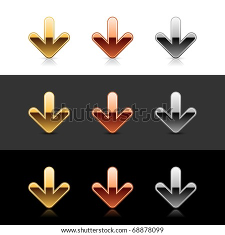 Luxury metal arrow down sign web 2.0 icon with shadow and reflection on black, gray and white - stock vector