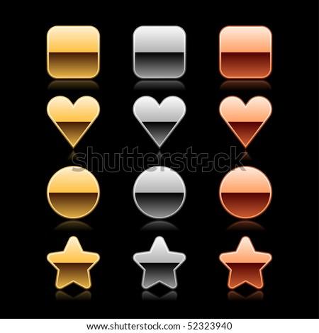 Luxury metal web button set icon on black - stock vector