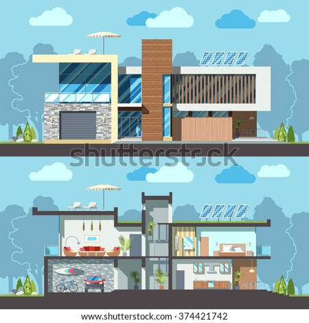 Luxury modern residential two-storied house facade and detailed furnished interior section. Minimalist Eco-friendly architecture reusing energy, reserving nature resources flat vector illustration - stock vector