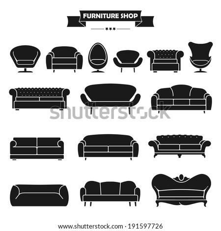 Luxury modern sofa and couch icons set. Vintage furniture collection. - stock vector