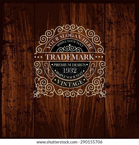 Luxury Monogram Emblem template. Elegant Frame Ornament line Logo design vector illustration. Good for  Restaurant, Boutique, Cafe, Hotel, Heraldic, Jewelry, Fashion.  Template Wood Texture  - stock vector