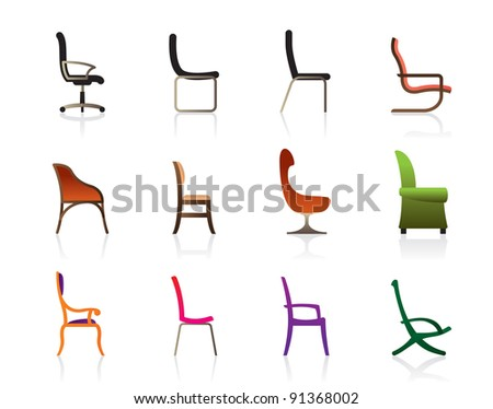 Luxury, office, interior and plastic chairs - vector illustration - stock vector