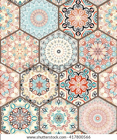 Luxury oriental tile seamless pattern. Colorful floral patchwork background. Mandala boho chic style. Rich flower ornament. Hexagon design elements. Portuguese moroccan motif. Unusual flourish print. - stock vector