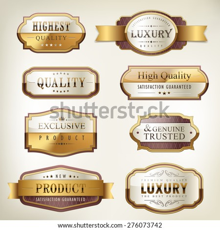 luxury premium quality golden plates collection over pearl white background - stock vector