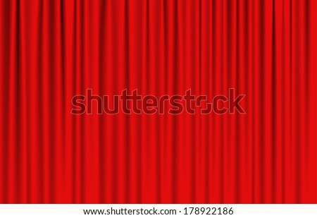 luxury red drapes curtain with many shadow vector - stock vector