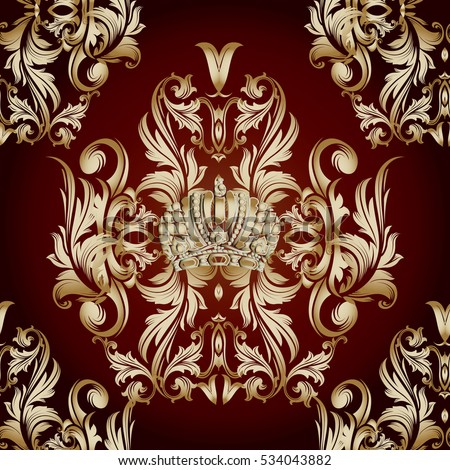 Baroque damask vintage vector seamless pattern stock for Baroque style wallpaper