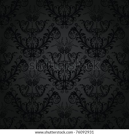 Luxury seamless charcoal gothic pattern - stock vector