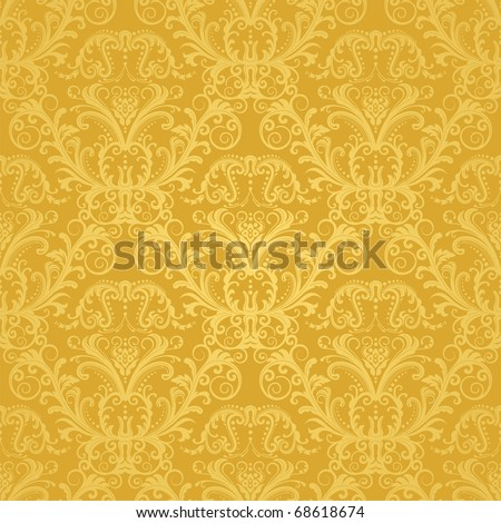 Luxury seamless golden floral wallpaper - stock vector