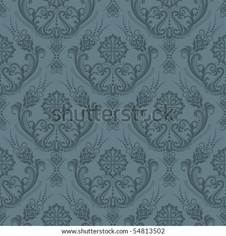 Luxury seamless grey floral wallpaper - stock vector