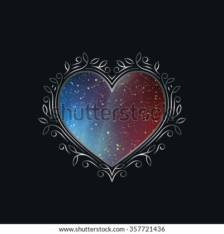 Luxury Silver Frame in Shape of Heart. Valentine's Day Decorative Symbol. Argent Royal Background. - stock vector