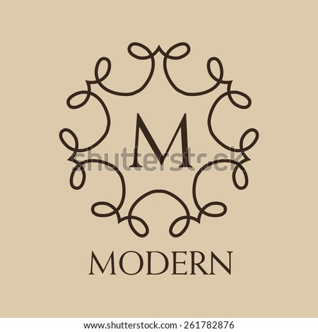 Luxury, simple  and elegant   Vector set of abstract frames and logo templates in line style - graphic design elements - stock vector