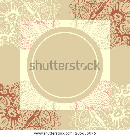 Luxury style greeting card design template. With doodle hand drawn background and circle frame for your text.