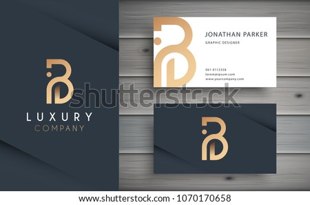 Luxury vector logotype business card template em vetor stock luxury vector logotype with business card template premium letter b logo with golden design reheart Gallery