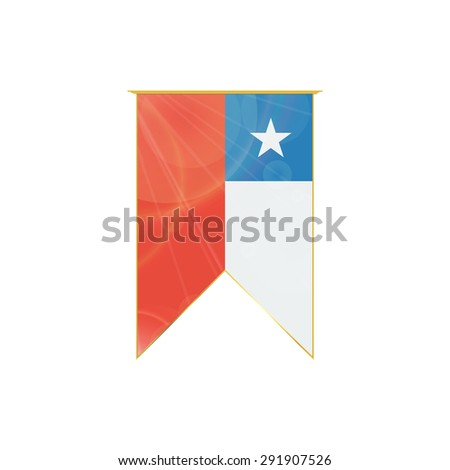 Luxury vertical ribbon with Chile flag framed in gold - stock vector