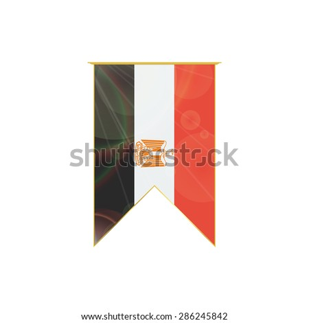 Luxury vertical ribbon with Egypt flag framed in gold