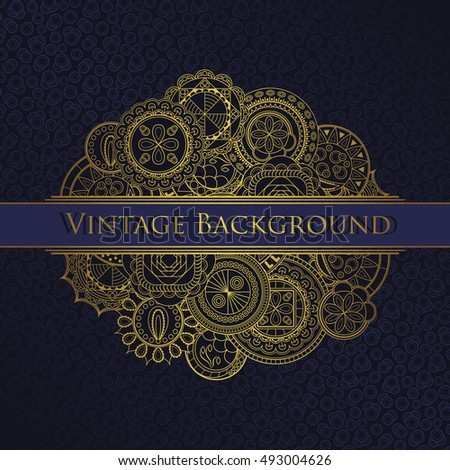 Luxury vintage background. Hand drawn art mandalas in a gold
