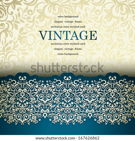 Luxury vintage card with floral lace border. Seamless background