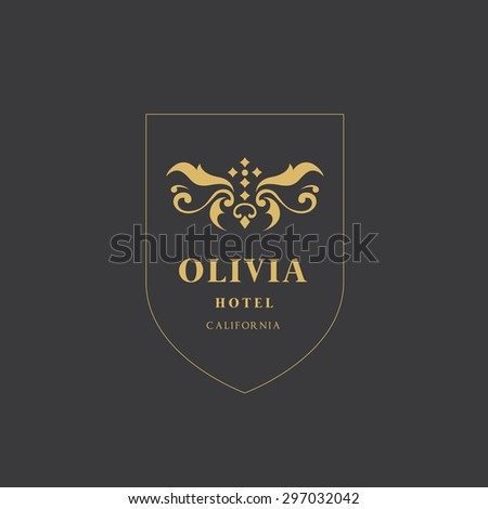 Luxury Vintage, Crests logo collection. Business sign, identity for Restaurant, Royalty, Boutique, Hotel, Heraldic, Jewellery, Fashion ,Real estate,Resort,Lion,King, tattoo,Auctions,Vector logo  - stock vector