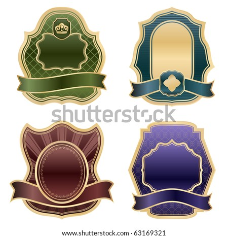 luxury vintage emblems - vector set - stock vector