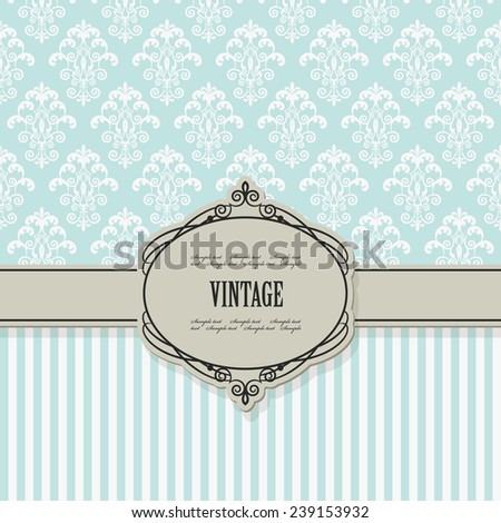 Luxury vintage frame on damask and striped seamless patterns. Baroque style.