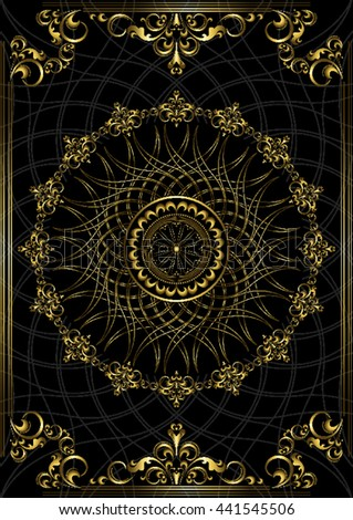 Luxury vintage frame with gold ornament on black background  - stock vector