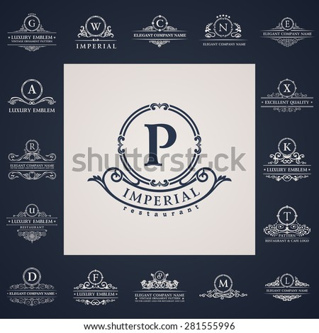 Luxury vintage logo set. Calligraphic letter elements elegant decor. Vector ornament - stock vector