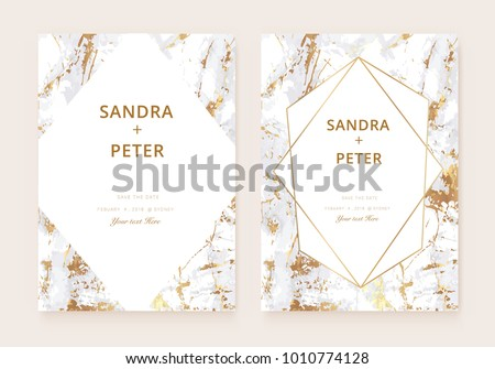 Luxury wedding invitation cards gold marble stock vector 1010774128 luxury wedding invitation cards with gold marble texture background and geometric shapes pattern stopboris Choice Image