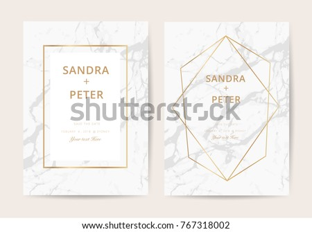 Luxury wedding invitation cards marble texture stock vector 2018 luxury wedding invitation cards with marble texture and golden line vector illustration stopboris Images