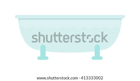 Luxury white flat rim top bath isolated on white background. Bath isolated white tub luxury design and bathroom old clean steel bath isolated vector. Bath isolated hygiene water wash. - stock vector