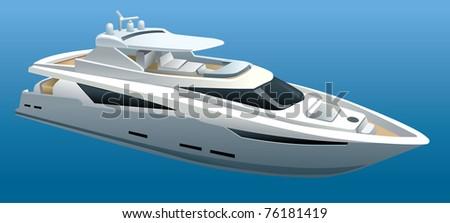 luxury yacht - stock vector