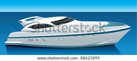 luxury yacht - stock vector