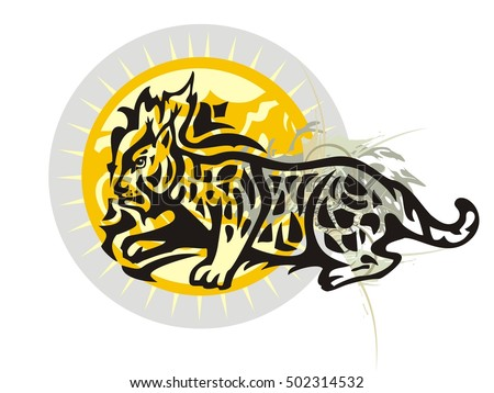 Lynx against an ornate sun. Tribal lynx with splashes and decorative sun for your design