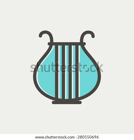 Lyre icon thin line for web and mobile, modern minimalistic flat design. Vector icon with dark grey outline and offset colour on light grey background. - stock vector