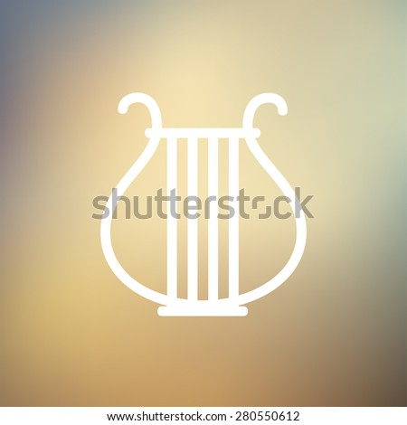 Lyre icon thin line for web and mobile, modern minimalistic flat design. Vector white icon on gradient mesh background. - stock vector