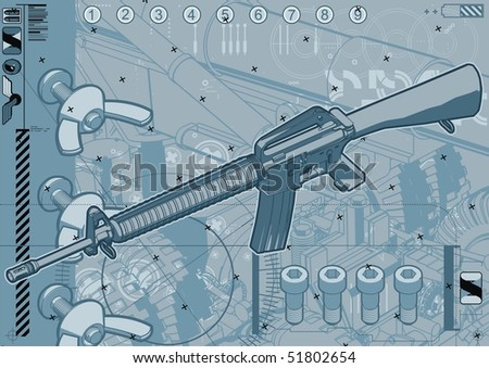 M16 assault rifle schematic design template. - stock vector