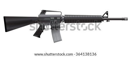 M16 Assault rifle weapons isolate on white background vector illustrations
