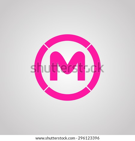 M. Flat web icon or sign isolated on grey background. Collection modern trend concept design style vector illustration symbol. in the circle - stock vector