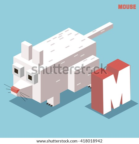 M for mouse, Animal Alphabet collection. vector illustration - stock vector