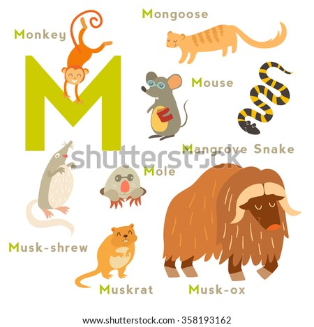 m letter animals set english alphabet stock vector 358193162