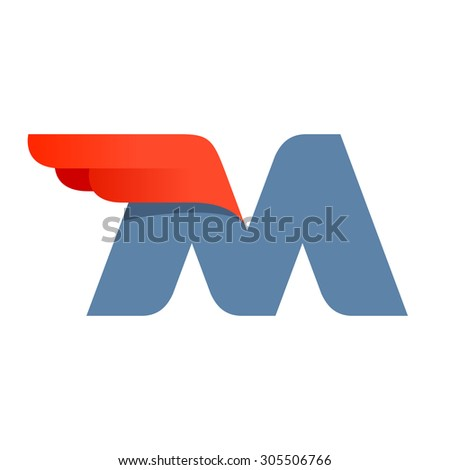 M letter logo design template. Second version. Fast speed vector unusual letter. Vector design template elements for your application or company. - stock vector